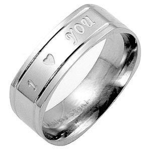 Men's Stainless Steel, Engraved Accent Ring